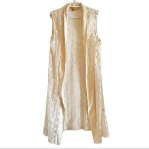 April Cornell cream lace and velvet duster